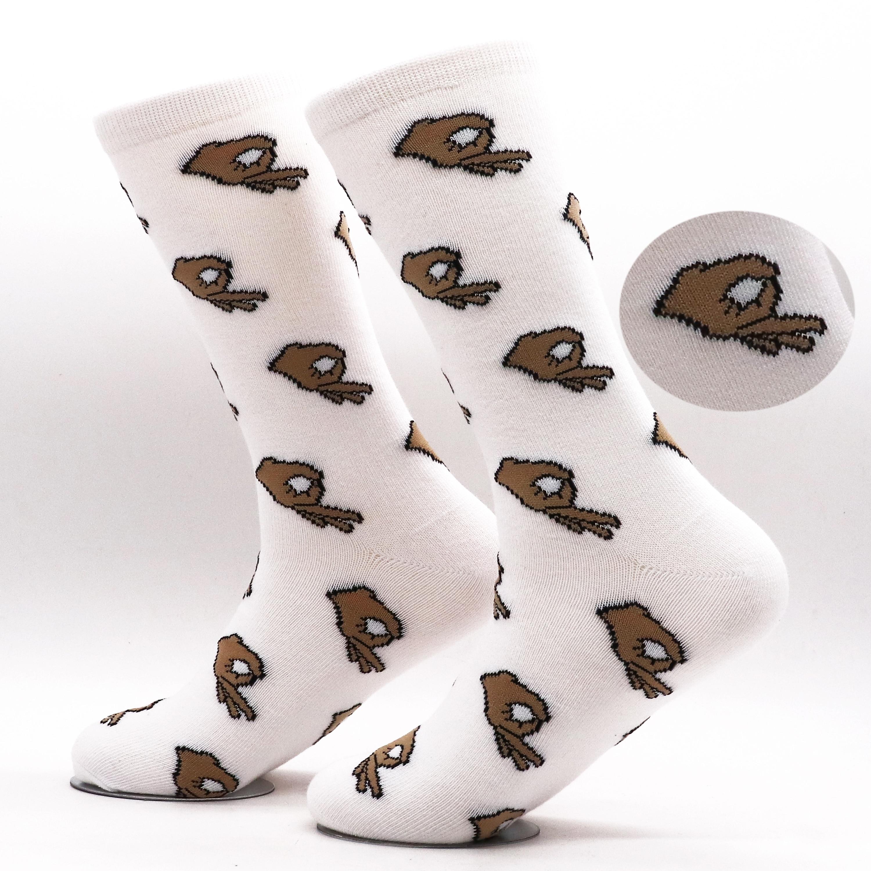 Men Unisex Winter Knitted Mid-Calf Long Crew Socks Funny OK Gesture Printed Hip-Hop Trendy Cotton Hosiery Skateboard Stre