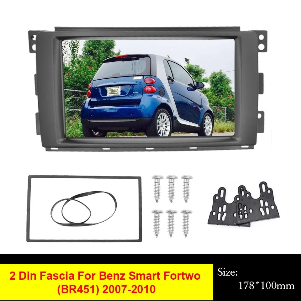 2 Din Car Radio Fascia For Benz Smart Fortwo (BR451) 2007-2010 DVD Stereo Frame Panel Plate Dash Installation Bezel Trim Kit