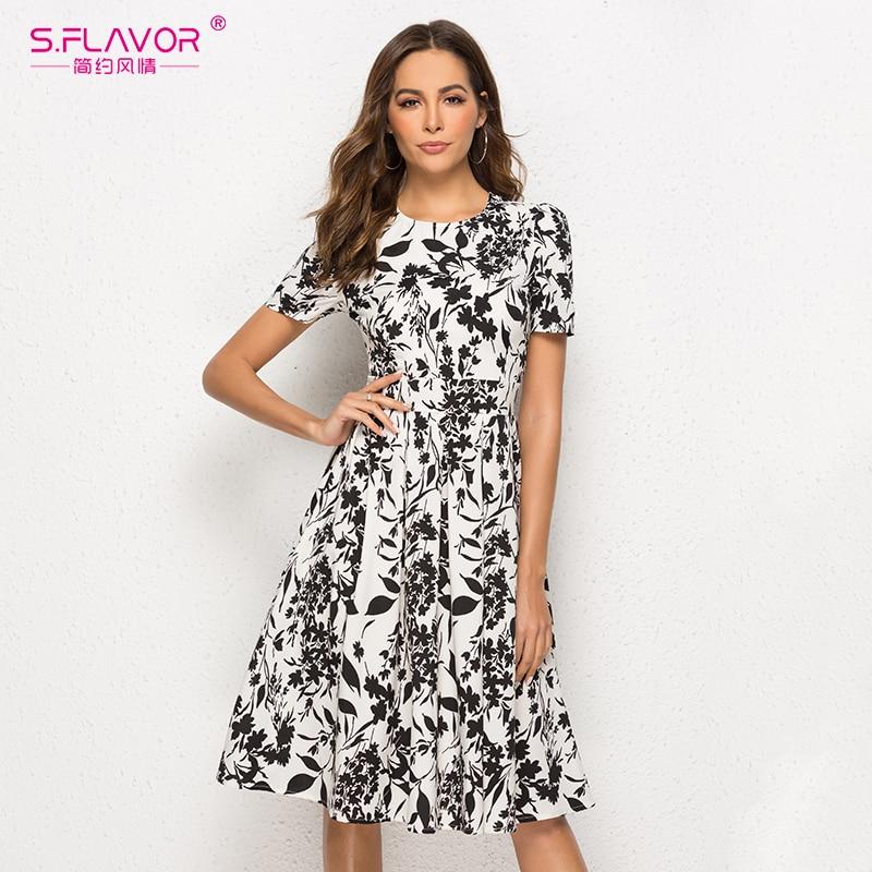 S.FLAVOR Women Short Sleeve Midi Dress Elegant Spring Summer Casual Dress Women Printing A line VestidosDresses   -