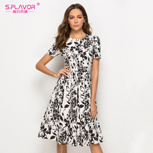 S.FLAVOR Women Short Sleeve Midi Dress Elegant Spring Summer Casual Dress Women Printing A line Vestidos