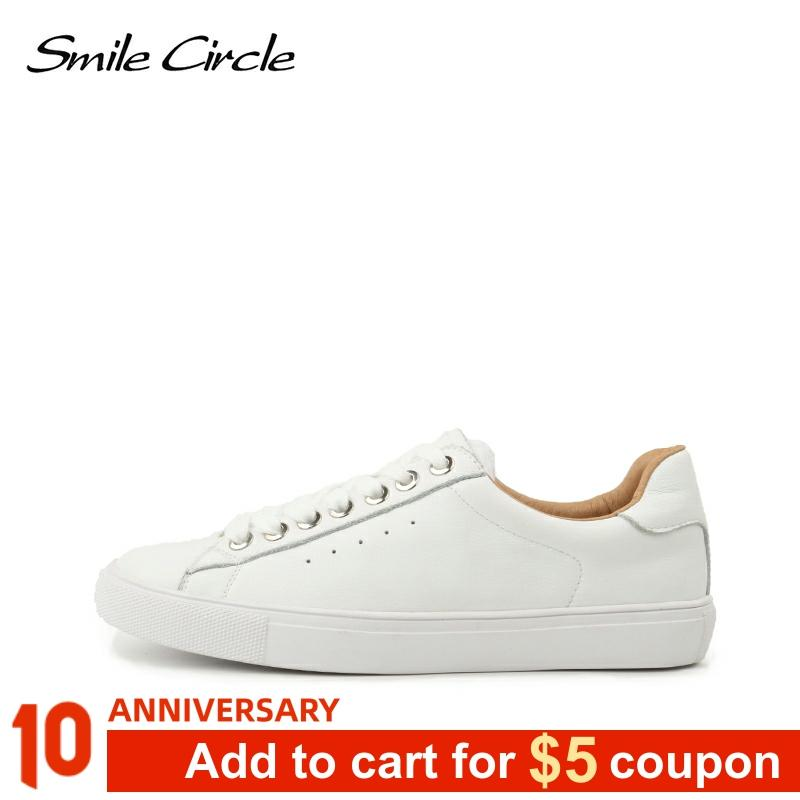 Smile Circle Sneakers Women Flats Shoes Lace-up Spring Fashion Casual Comfortable Ladies Shoes Big Size 36-42