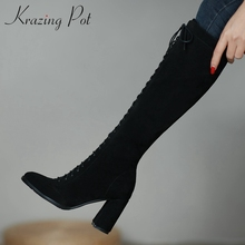 Winter Shoes Krazing-Pot Knee-High boots Cow-Suede High-Heel Thick Fashion Women Zip