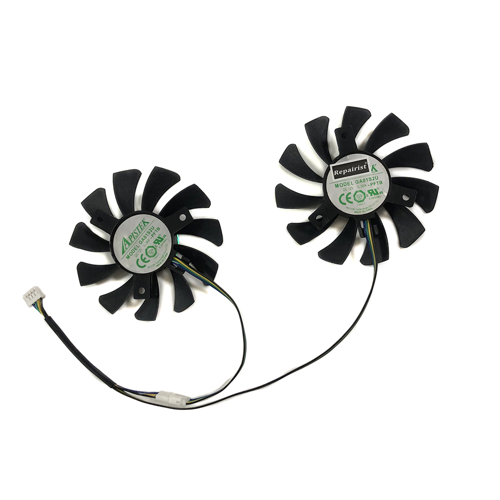 2pcs/set 75mm APISTEK GA81S2U DC 12V 0.38A 4Pin <font><b>GTX</b></font> <font><b>660</b></font> Cooler <font><b>Fan</b></font> For ZOTAC GTX660-2GD5 Graphics Card Cooing As Replacement image