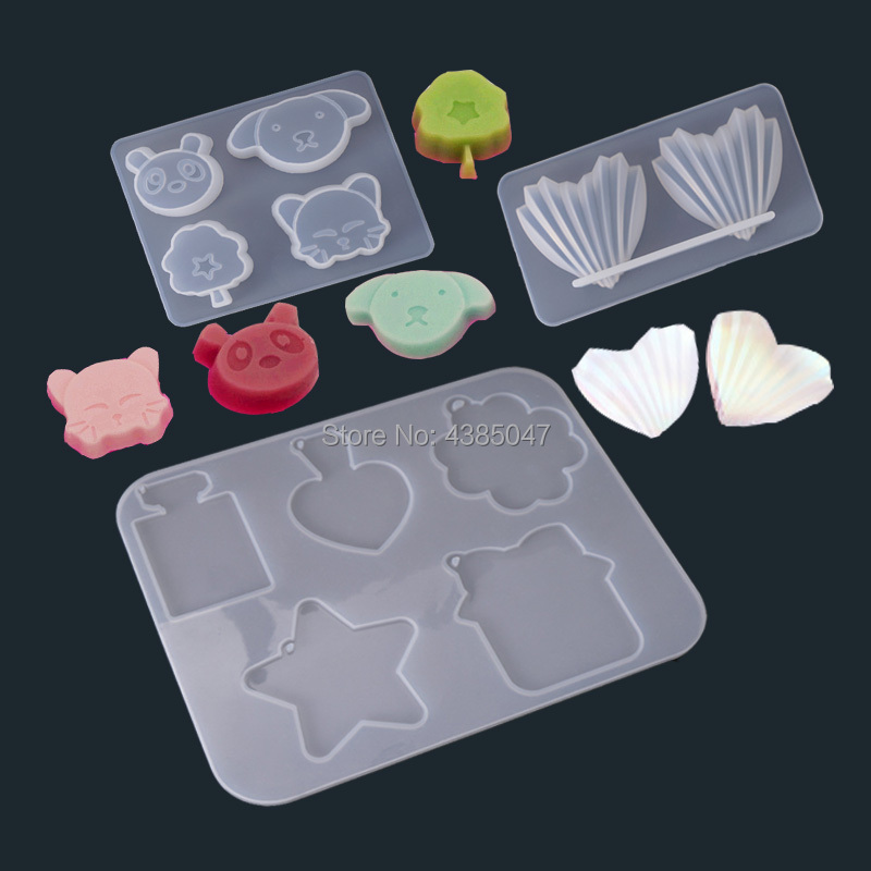 1PC Shell Panada Dog Pendant Craft Transparent UV Resin Silicone Combination Molds For DIY Making Finding Accessories
