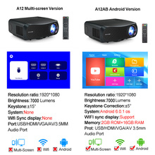 Caiwei Full Hd Projector A12 Inheemse 1080P Android 2G + 16G Dual Wifi Led Projector Video Beamer 3D Home Theater Projector