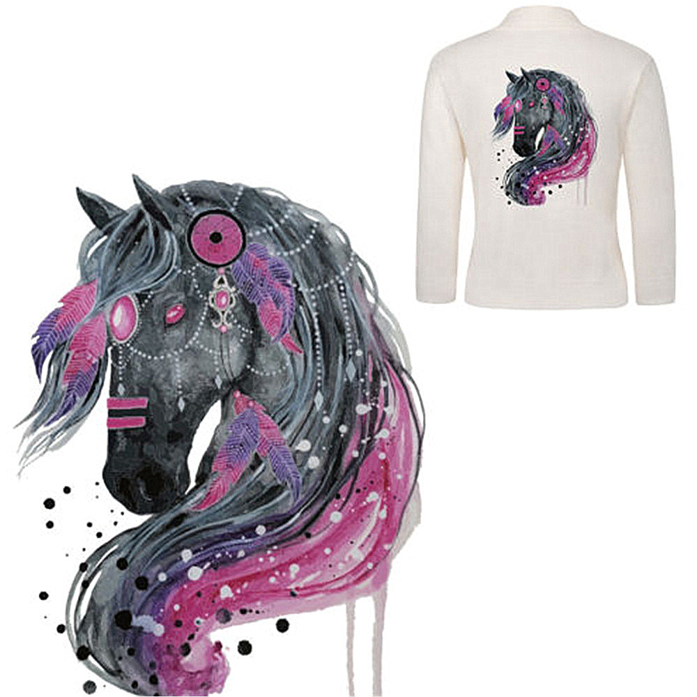 3D Horse Patch T-shirt Press Heat Transfer Sticker A-level Washable Iron On Appliques For T-shirt Dresses Clothes Decoration YH