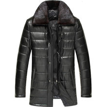 Genuine Leather Jacket Winter Jacket Men Mink Fur Collar Real Sheepskin Coat for Men Warm Down Cotton Chaqueta Hombre MY1737(China)