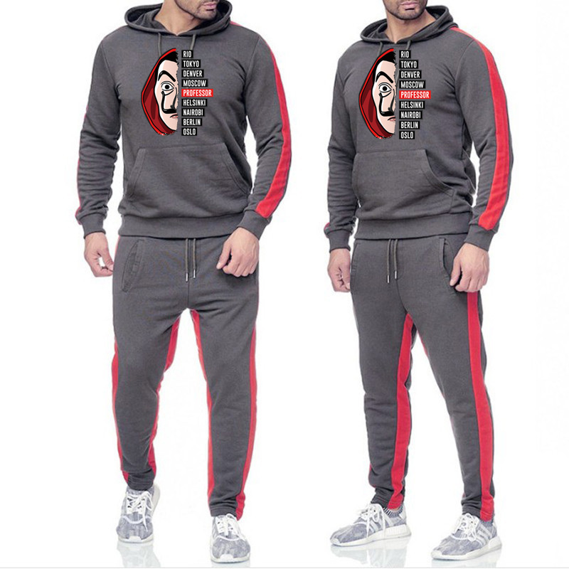 Men's Spring And Autumn Models 65% Cotton 35% Polyester Sports Printed Hoodie Color Matching Suit Banknote House Sweater