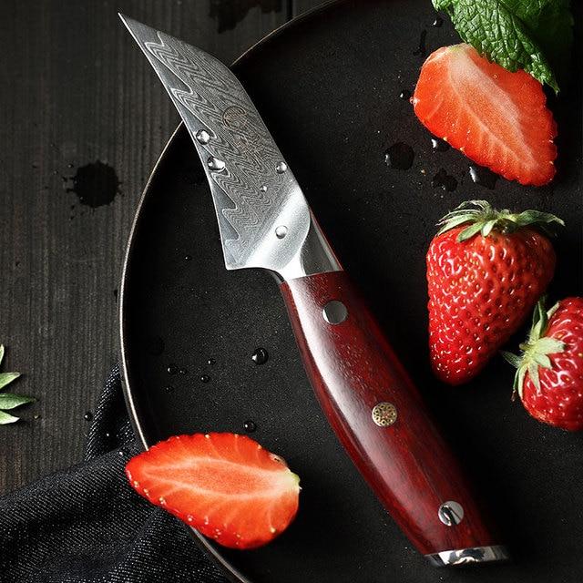 YARENH 3 Polegada Faca de Frutas   Melhores Facas de Cozinha   Chef Fruit Peeling Knife   67 Camadas de Aço de Damasco Japonês   Alça de jacarandá