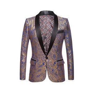 Image 4 - Mannen Vergulde Zwarte Kraag Pak Set Bruiloft Gouden Bloemen Patroon Slim Fit Party Prom Dress Tuxedo Zangers Kostuum jas