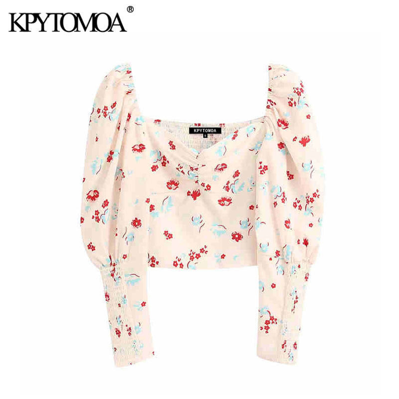Vintage Sexy Floral Print Back Elastic Cropped Blouses Women 2020 Fashion V Neck Long Sleeve Female Shirts Blusas Chic Tops