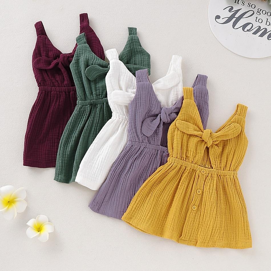 2020 New Summer Baby Girl Dress Princess Bowknot Backless Toddler Kids Vest Dress Children Clothes