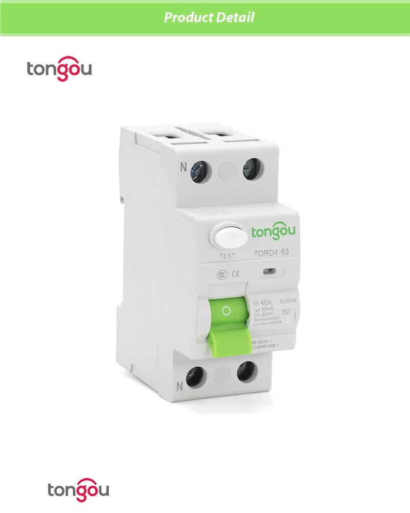 AC 2P 16A 10 мА 30 мА 6KA RCCB RCD 110 в 230 В узловой ток автоматический Выключатель дифференциальный выключатель переключатель безопасности TORD4-63