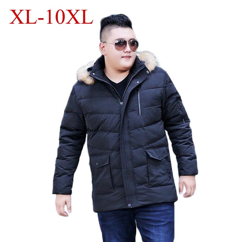 10XL 9XL 8XL 4XL  New Men Down Jacket Winter Thick Warm Fashion Patchwork Men's Fur Collar Hooded Men White Duck Down Jacket