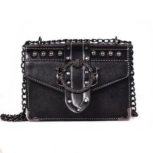 Image 2 - European Fashion Female Square Bag 2020 New Quality PU Leather Womens Designer Handbag Rivet Lock Chain Shoulder Messenger Bags