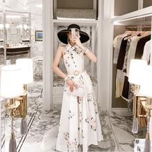 YAMDI cena club vestido estampado sin mangas de lujo 2020 bohemio fiesta vestidos mujeres Primavera Verano pasarela a-line vintage elegante flora