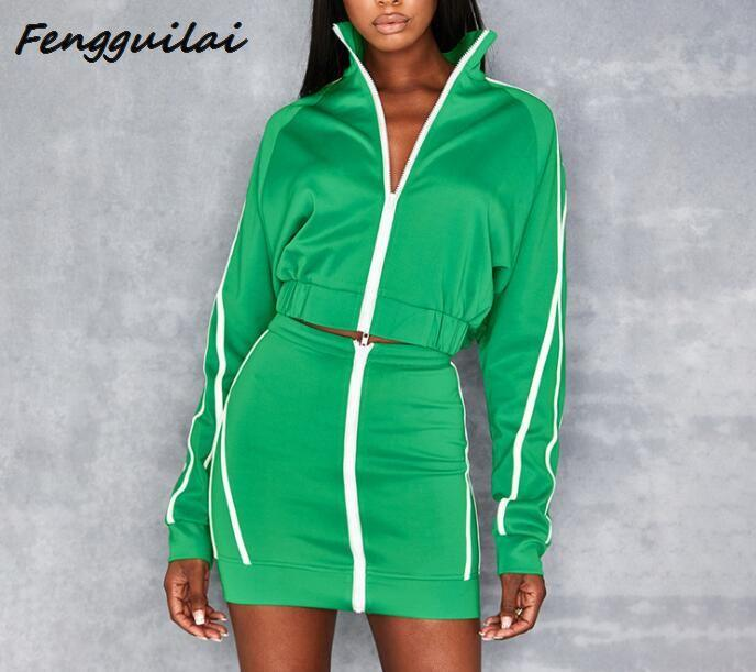 FENGGUILAI Autumn Winter Women Sexy Striped Zipper Two Pieces Set 2020 Green Full Sleeve Crop Top Bottom Skirts Outfit Tracksuit