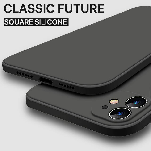 Luxury Orignal Square Edge Soft Liquid Silicone Case For iPhone 12 11 Pro XS Max Mini X XR 6S 7 8 Plus SE 2020 Shockproof Cover 1