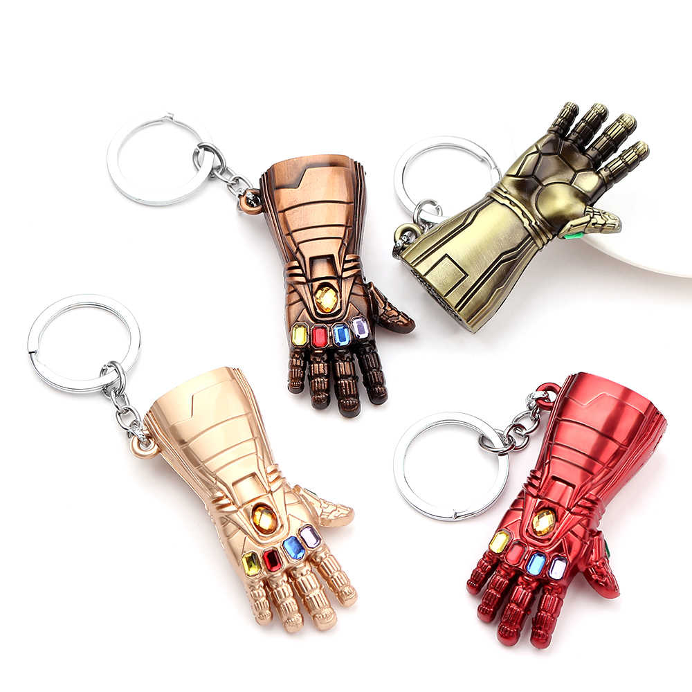 Homem de ferro luva chaveiro avengers endgame infinito potência gauntlet chaveiros llaveros para fãs pingente chaveiro brelok