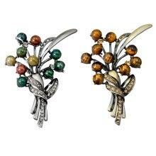Broches de árbol de perlas de plata Antic Vintage para hombres traje de mujer bufanda hebilla de diamantes de imitación joyería planta esmalte Pin accesorios de ropa