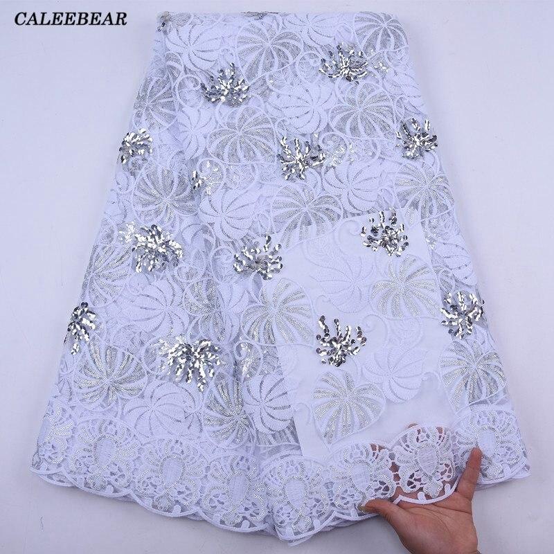 2020 mais recente branco africano tecido de renda lantejoulas bordado francês malha renda com lantejoulas nigeriano tule renda para festa s2041