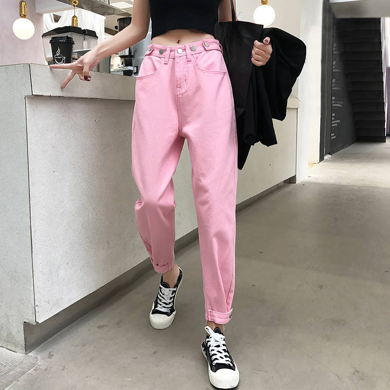 Vintage Jeans For Women High Waist Blue Denim Pencil Trousers Korean Streetwear Denim Autumn Boyfriend Pants