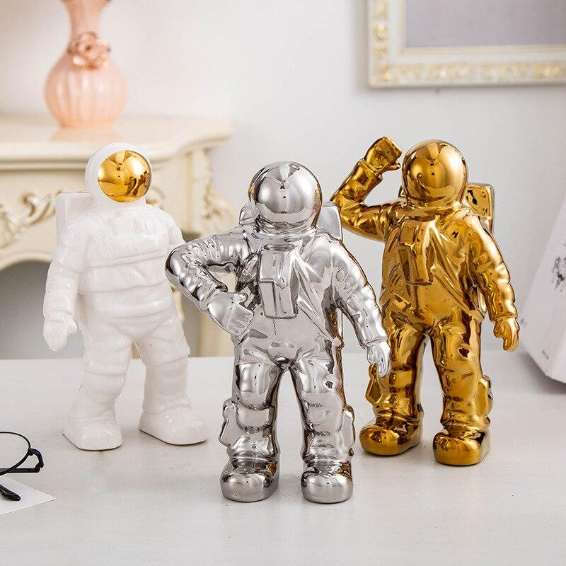 Modern Ceramics Astronaut Decoration Crafts Sculpture Home Living Room Bedroom Desktop Adornment Nordic Simple Ornament Gift