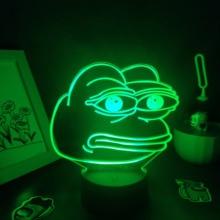 Cute Animal Sad Frog Pepe Feels Bad Good Man 3D LED Neon Lamps RGB Night Lights Colorful Gift For Kids Child Bedroom Table Decor