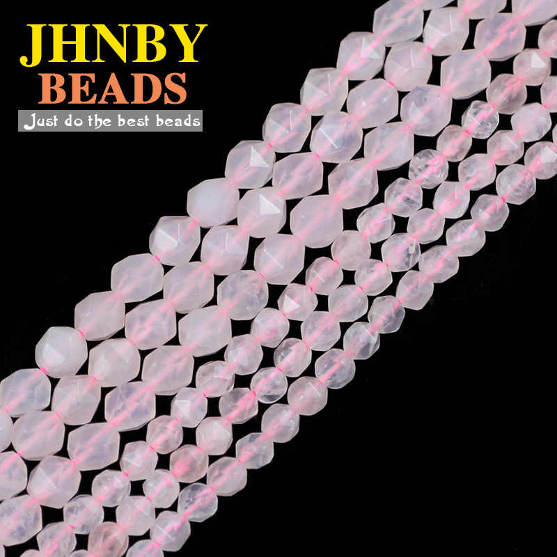 Jhnby Segi Berwarna Merah Muda, Merah Muda Rose Quart Z Kristal Alami Batu 6/8 Mm Spacer Longgar Beads untuk Perhiasan Membuat Diy kalung Gelang Menemukan