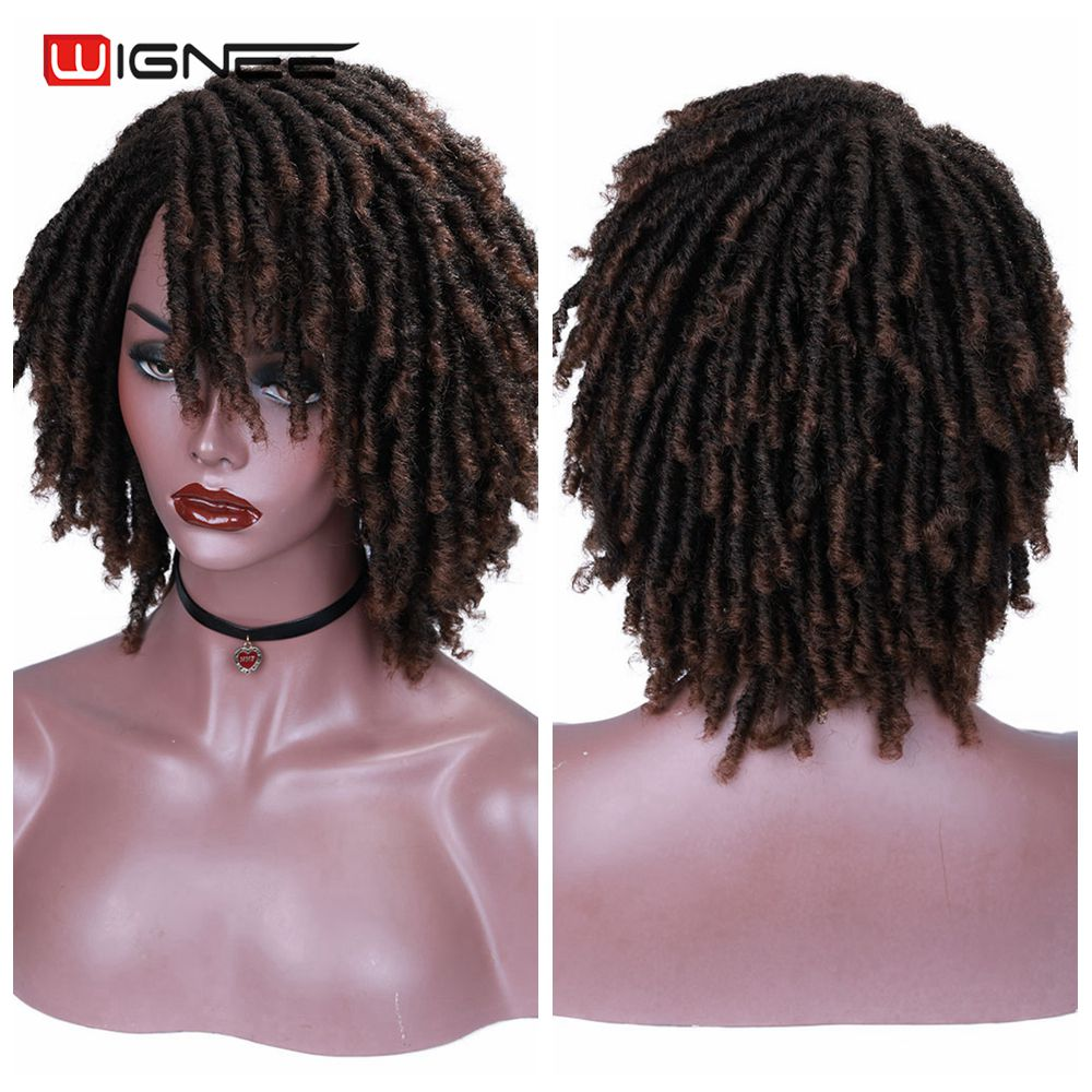 Wignee Short Soft  Brown Synthetic Wigs For Black Women High Temperature Dreadlock Dreads Braiding Crochet Twist Fiber Hair Wigs
