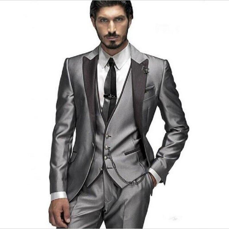 Elegant Formal 3Pieces Slim Groom Wedding Tuxedos Men Suit Spring Mens Prom Wear Dress Groomsman Party Suits (Jacket+Pants+Vest)