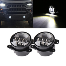 2x 30W Chip Led 4 Inch White Round Fog Lights Lens Projector 4 Fog Lamp For Offroad Jeep Wrangler Dodge Chrysler