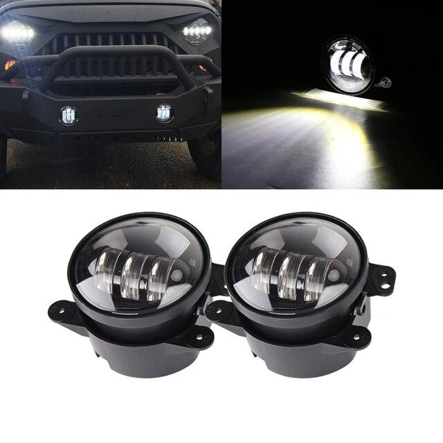 2x30W puce Led 4 pouces blanc rond antibrouillard lentille projecteur 4 antibrouillard pour tout terrain Jeep Wrangler Dodge Chrysler