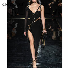 10.21 2019 Hot New Chic Elegant Pin Split Design Sexy One Shoulder Celebrity Party Bandage Long Dress(China)