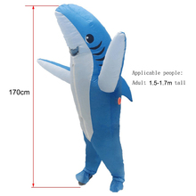 Waterproof Inflatable Costume Blow Up Shark Halloween Jumpsuit Cosplay Outfit Adult Carnival Party Supplies