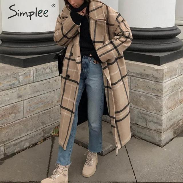 Simplee Elegant plaid women tweed coat Buttons pockets autumn winter female blend coats V neck office ladies warm long overcoats