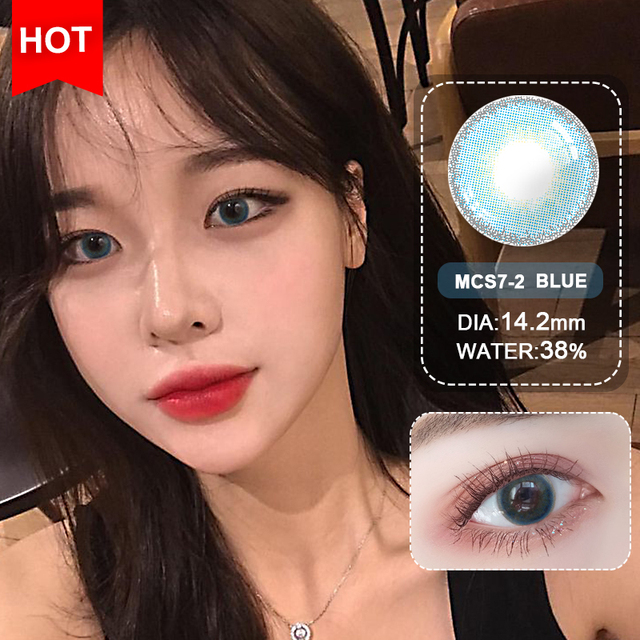 Blue Contacts 2020 NEW HIDIROCOR Two Piece Colored Contacts beautiful pupil color contact lenses contact lenses for eyes color 3