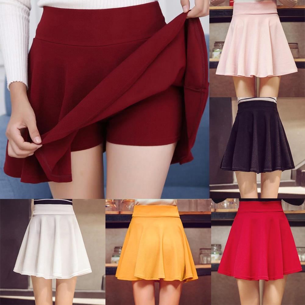 Women's Girls Skater Skirt Pleated Flared A Line Circle Elastic Stretch Waist Elastic Waist Dance Skirt White Red Short Skirt