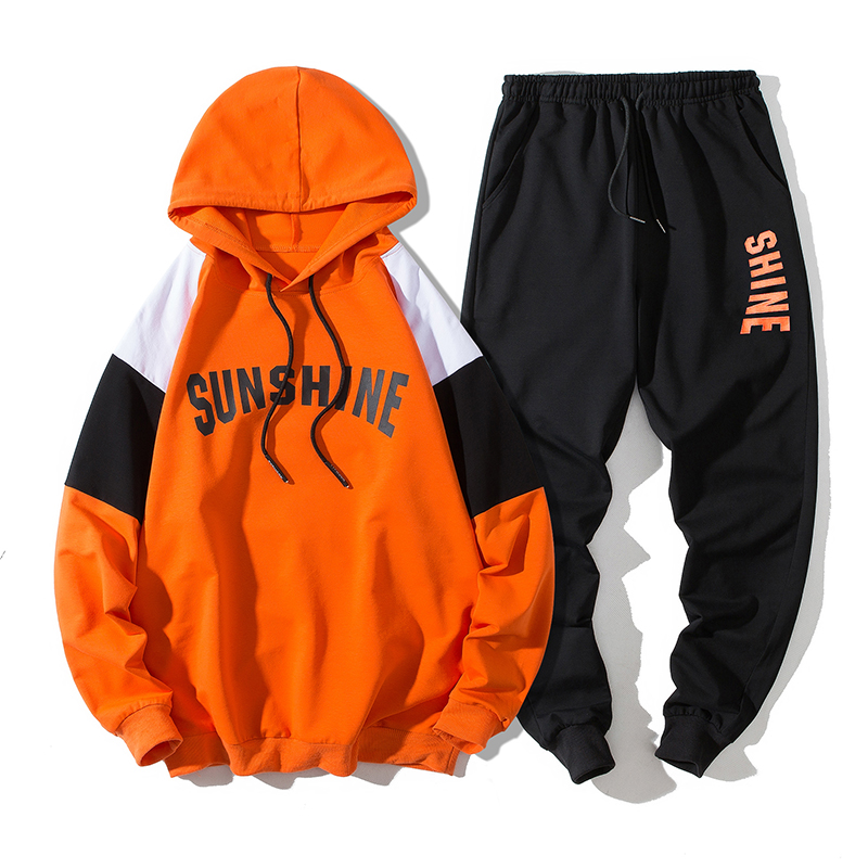 2 Pieces Men Hoodie Set Tops Sweatpants Hooded Pullover Joggers Trousers Contrast Color Letter Print Casual Tracksuit Male