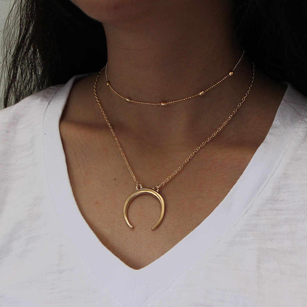 Collier créatif pour femmes hommes lune pendentif collier argent or breloque collier corne collier croissant de lune pendentif à breloque