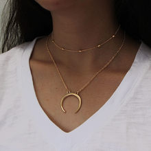 Creative necklace for women men Moon pendant necklace sliver gold charm necklace Horn Necklace Crescent Moon Charm Pendant(China)