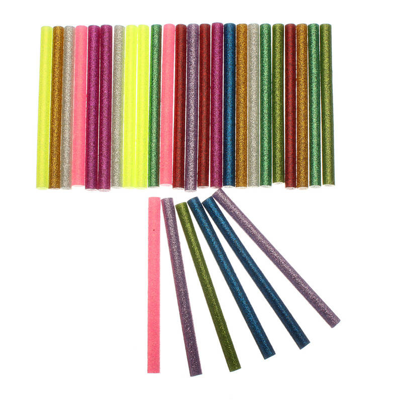 30pcs/lot  7*100mm Colorful Flash Mix Color Hot Melt Glue Stick Mobile Beauty DIY Tools Highly Viscous Adhesive Strips