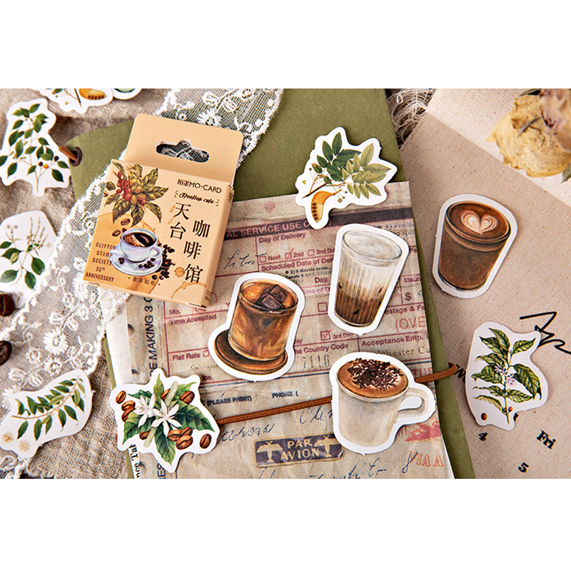 46pcs/pack Rooftop Cafe Boxed Stickers Scrapbooking Diary Stationery Decorative Vintage Bullet Journal Children Stickers