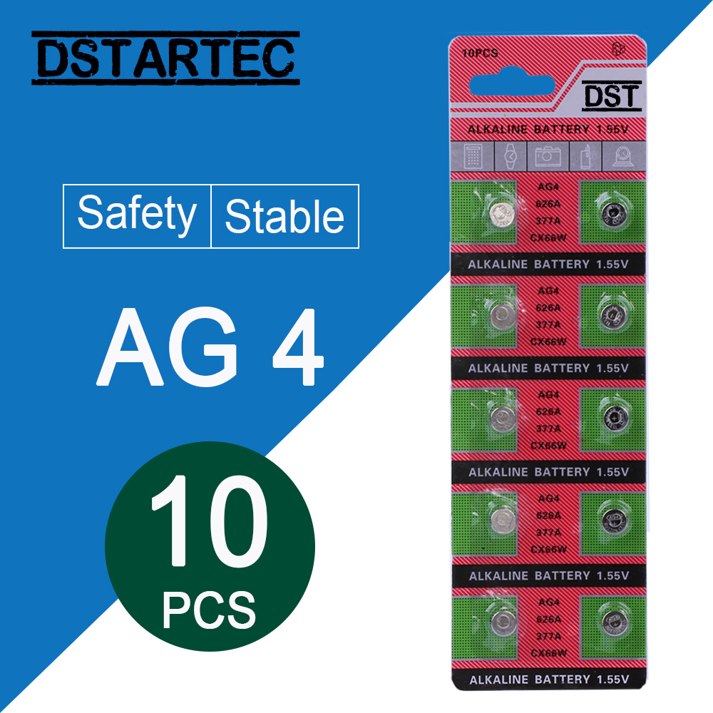 10pcs/card 30mAh 1.55V AG4 377A 377 LR66 LR626 SR626SW SR66 AG4 AG 4 Button Batteries For Watch Toys Remote Cell Coin Battery