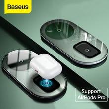 Baseus-cargador inalámbrico Qi para Airpods Pro, iPhone 12, 11 Pro, X, XS, XR, 15W, almohadilla de carga inalámbrica Dual para Samsung S10, S9, uso de oficina