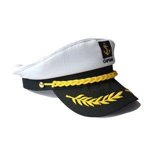 Chapéu de capitão Marinheiro Branco Preto Estilo Militar Homens Mulher Vermelho Verão Capitão Chapéu Do Partido das Crianças Cosplay Marinheiro Tampão Militar
