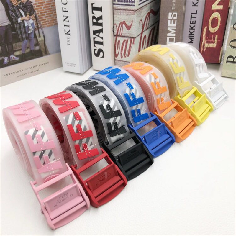 The correct version of OFF OW transparent belt with three-dimensional clear feel, glue stitching jelly color tide brand