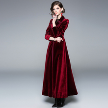 New 2020 Winter Runway Designer Women Vintage Wrap Black Velvet Maxi Coat Thick Warm Long T