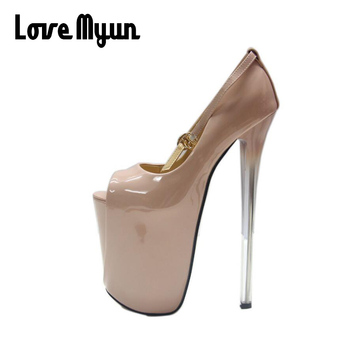19CM.16 CM.22CM BIG SIZE 50. Ladies Thin Heels Pumps Platform Sexy Open Toe High Heels Shoes Woman Wedding Party Shoes NN-90 image