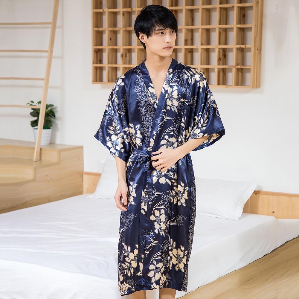 Men Kimono Robe Sleepwear Bath-Gown Satin Summer Soft Casual Navy-Blue Lingerie Intimate
